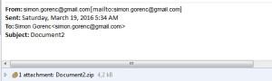 primer e-pošte z okuženo datoteko
